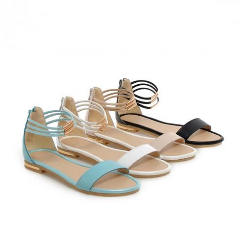 2015 Boho das mulheres do dedo do pé aberto verão casuais plana com tira no tornozelo praia roma sandálias sapatos com zíper US4.5-8(China (Mainland))