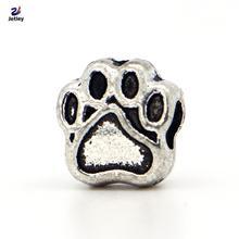 NEW Wholesale 1Pc Fashion Style Bead Alloy Bead Charm European Silver Dog Paw Print Bead Fit Pandora BIAGI Bracelets & Bangles