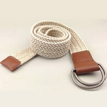 2015 Brand Casual Fashion Men Accessories belts guaranteed 100% fabric cotton paraffined rope knitted braided belt free shipping