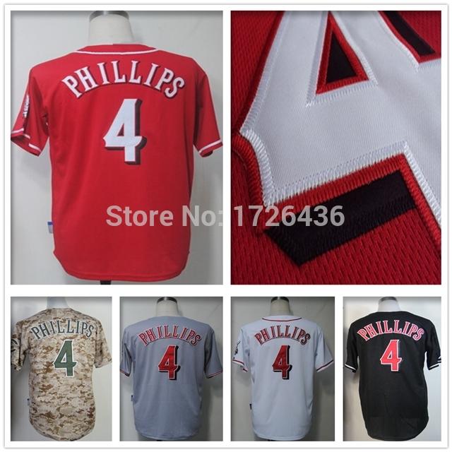 4 Brandon Phillips Jersey Cheap Cincinnati Jerseys Baseball Red White Custom Men Stitched Authentic Cheap Embroidery Jersey 60(China (Mainland))