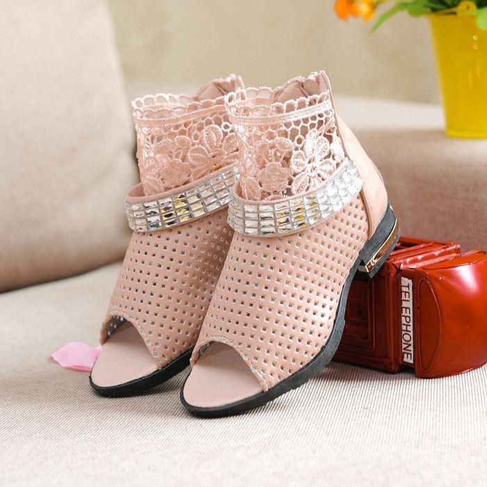 Лето кружево сандалии yuzui ажурная сетчатая ткань из дети обувь для девочки после молния обувь