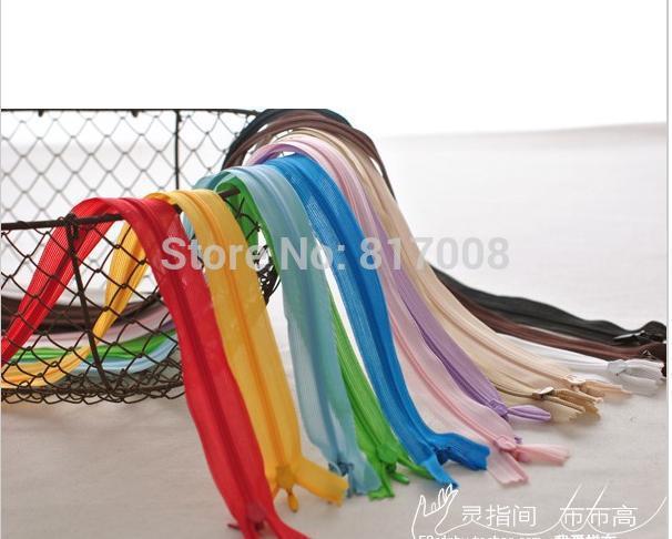 DIY handmade zipper patchwork accessories Cushion/ Household cloth art /pillowcase /garment multicolor invisible zipper 40cm(China (Mainland))