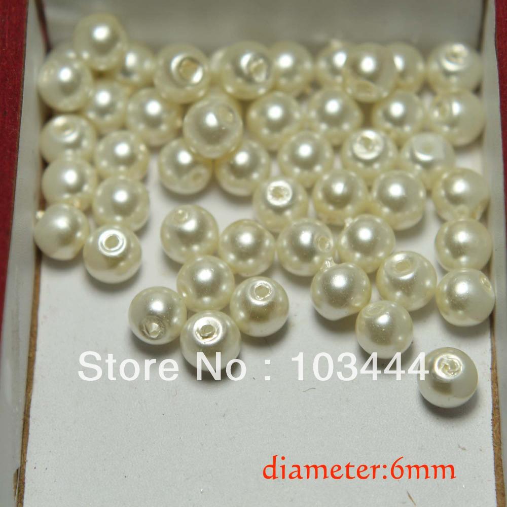 100 pcs/lot 6mm round pearl white glass beads DIY jewelry garment accesorries(China (Mainland))