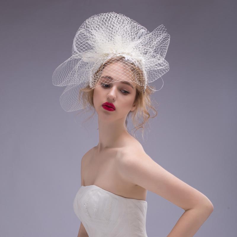 2015 Luxury Bride Hair Accessory Wedding Dress Marriage Gauze Fedoras Accessories Hairbands Jewelry Ornaments