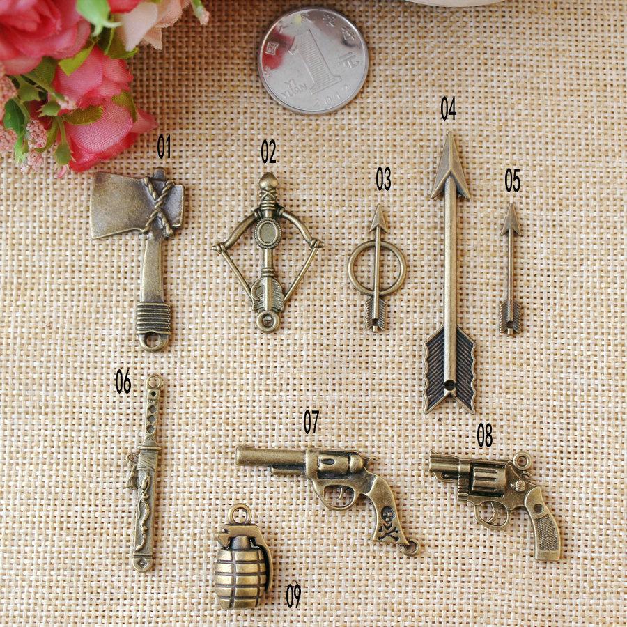 ZAKKA retro ancient bronze sword weapon ax bow and arrow shooter Ray pendant ornaments accessories(China (Mainland))