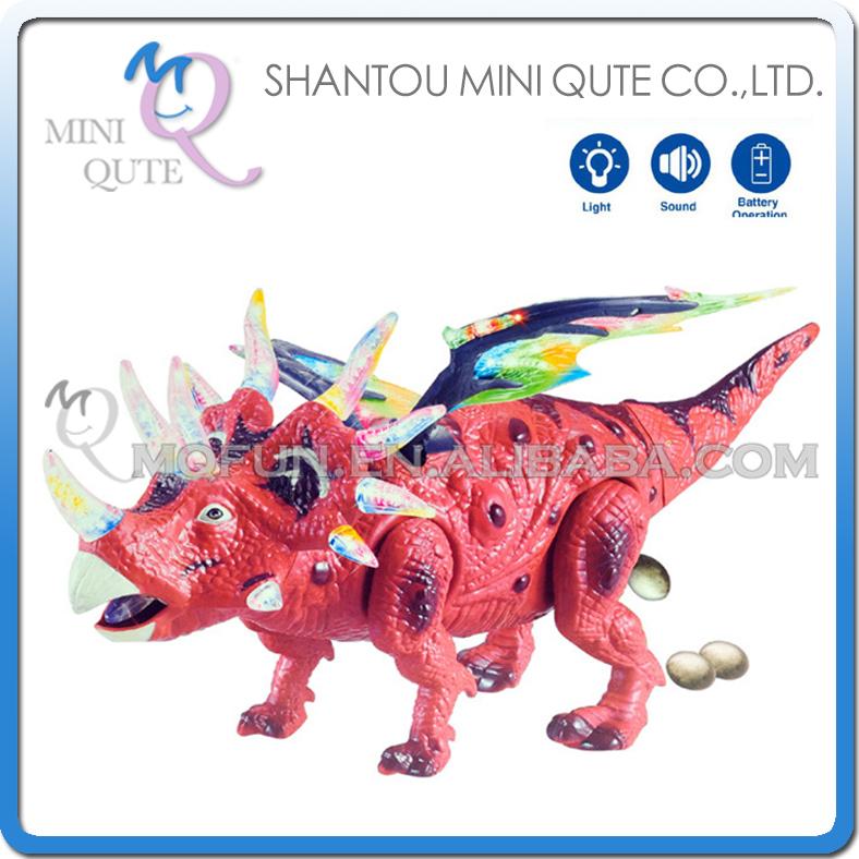 Mini Qute 43 cm plastic Godzilla Jurassic Park sound flash walk electronic dragon Dinosaur Triceratops model toy NO.2024(China (Mainland))
