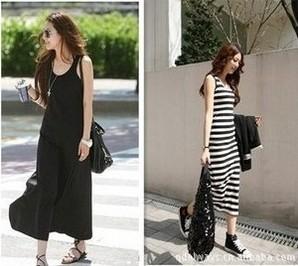 2015 Summer New Korean Dress Striped Dress Vest dress Free Shipping