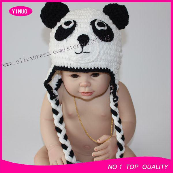 Wholesale ( 10pcs/lot ) baby PANDA pattern knit cotton baby hat(China (Mainland))