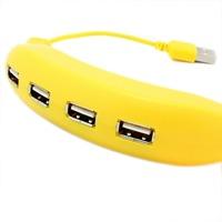 Banana design USB 2.0 Hi-Speed 4-Port Splitter Hub Adapter For PC Computer Notebook