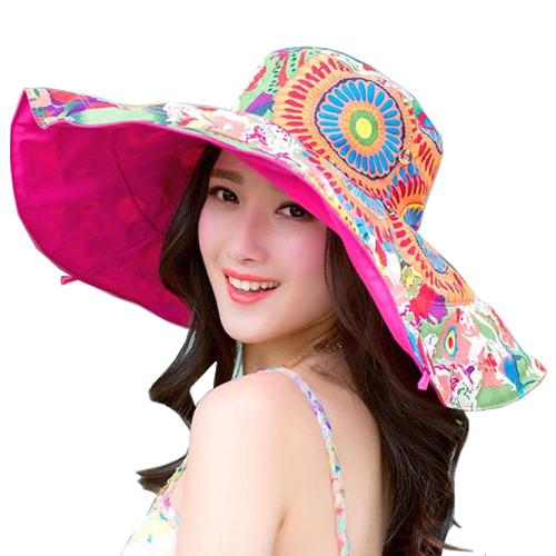 2015 most popular beach summer hats women big flower collapsible sun anti-uv cap QF7017S(China (Mainland))