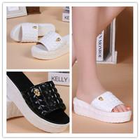 2015 brand fashion Summer flip flops platform wedges for women genuine leather sandals platform flip slippers beach shoes HX06
