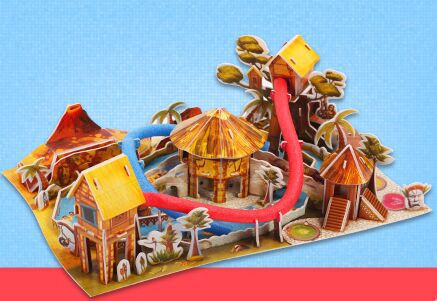 3 d puzzle water park paper manual puzzle hand assembled puzzle toys for children(China (Mainland))