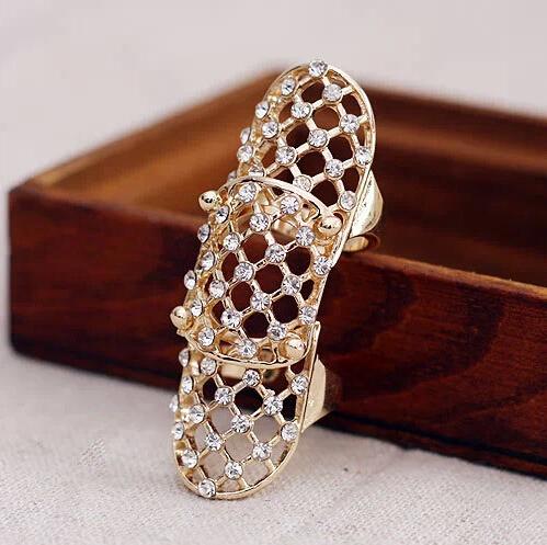 New Hot 2015 Fashion Punk Full Rhinestone Crystal Scroll Joint Knuckle Finger Ring XY R293