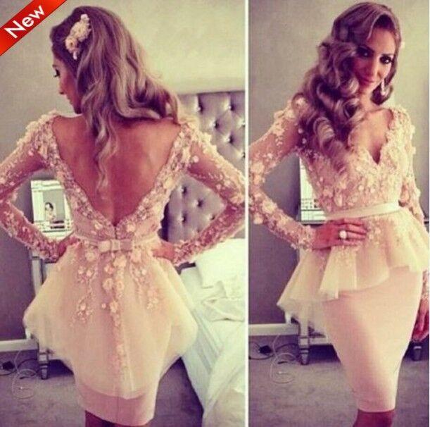 Коктейльное платье Long sleeve cocktail dress v Vestido вечернее платье mermaid dress vestido noiva 2015 w006 elie saab evening dress