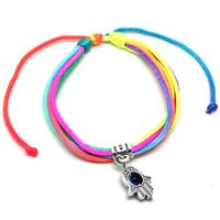 [Min. 6$] New 2015 Fashion Jewelry  Charm Sliver Hamsa Hand Good Luck Evil Eye Rope BraceletHamsa hand bracelet B2-030
