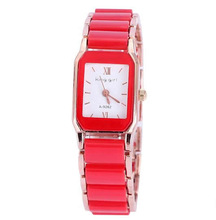 Free shipping Women Watch Bracelet Cute Jewelry Zinc Alloy with Porcelain Glass Rectangle rose gold color