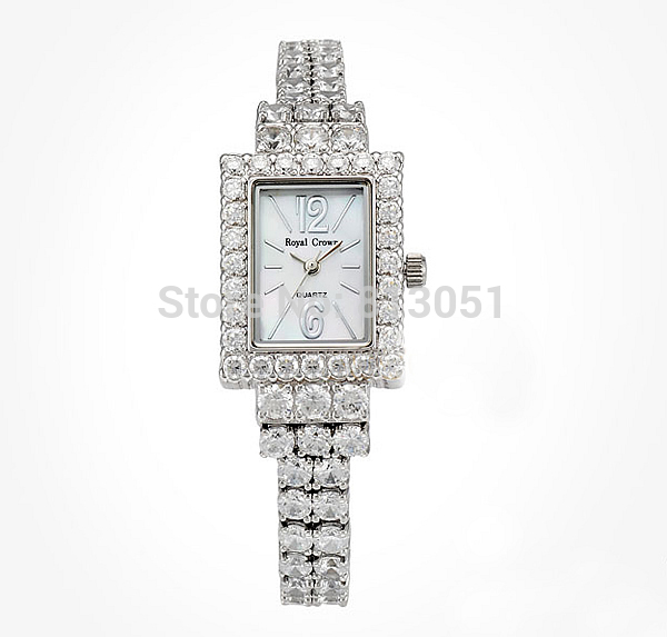 Free shipping Brass Watch Bracelet Wedding Jewelry with Shell Glass platinum plated for woman with cubic