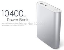 6pcs/lot Hotsale10400mAh Xiaomi power bank external battery power bank Charger for iPhone4 5S 6 Samsung Smartphones power backup