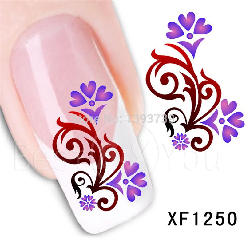 Hot 1x nail sticker purple & red Beautiful pattern distinctive Nail Art MJ0644-XF1250(China (Mainland))