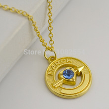 10 pcs Wholesale 18k Gold Cupid Arrow With March Birthstone Living Memory Pendant Necklaces