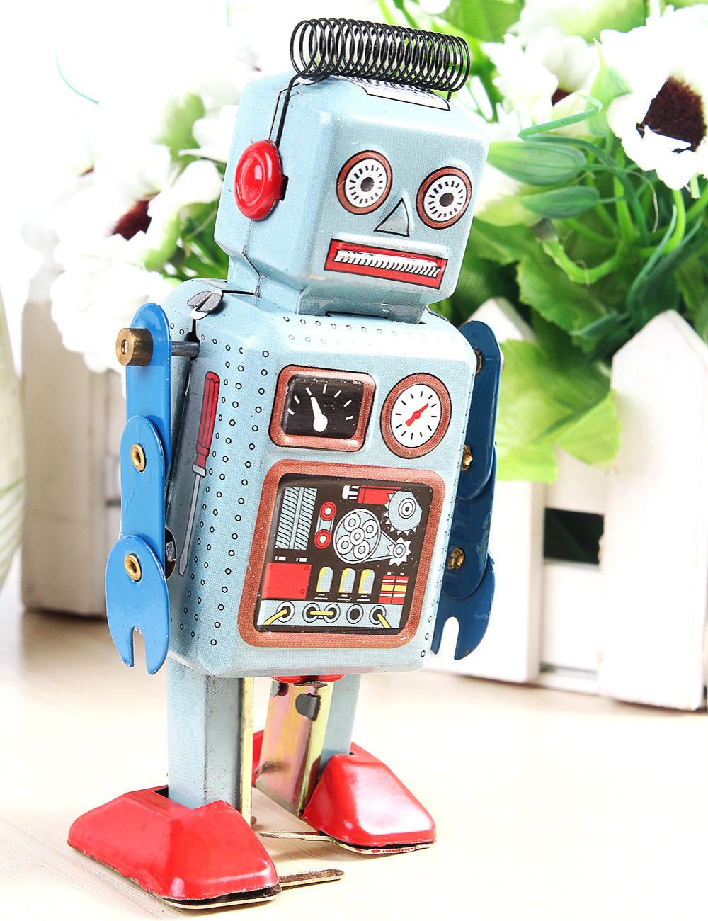 Clockwork Wind Up Metal Walking ROBOT TIN Toy Retro Vintage Mechanical Kids Gift Free Shipping(China (Mainland))