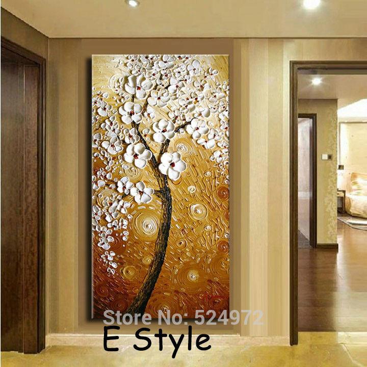 Картина Sunny art 100% Brown background White flower tree-E
