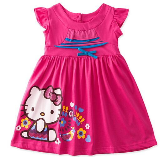 2015 New girls cartoon summer hello kitty dress kids printed cotton dress baby cute KT Cat dresses wholesale 6pcs/lot(China (Mainland))