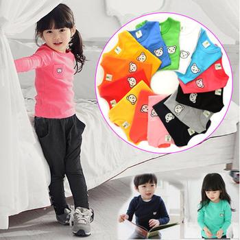 Свободного покроя корейские дети мода твердые многоцветный симпатичные хлопок девушки парни тенниски девочек одежда с длинными рукавами футболки для детей