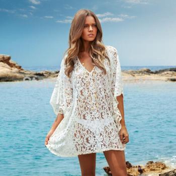 Новинка 2015 женщины кружева пляж рубашка туника, лето сексуальная купальник прикрыть пляжная одежда, купальники прикрыть пляж платье