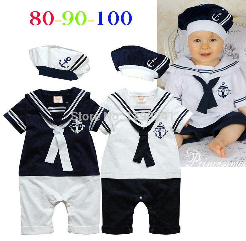 Estilo marinheiro da marinha macacão de bebê menino crianças de uma peça bodysuit com chapéu da marinha traje do bebê macacão de bebê roupas de uma só peça(China (Mainland))