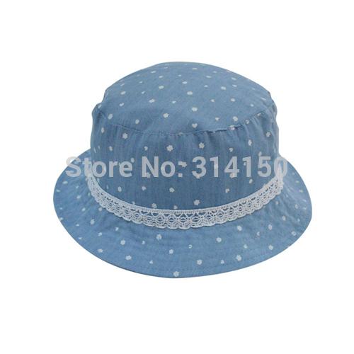 Tou Baby Hats/Caps Girls Kids Dot Summer Sunhats Bule Canvas Fisherman Hats Boys Beach Hat Children Accessories Free Shipping(China (Mainland))
