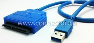 "USB 3.0 to SATA 22Pin 2.5"" 3.5"" HDD 7+15 Hard Disk Driver Cable Adapter 0.5M(China (Mainland))"