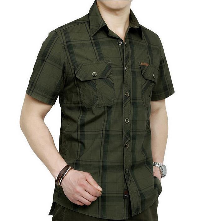European casual style 2015 big size M 5XL obesity men s summer 100 pure cotton plaid
