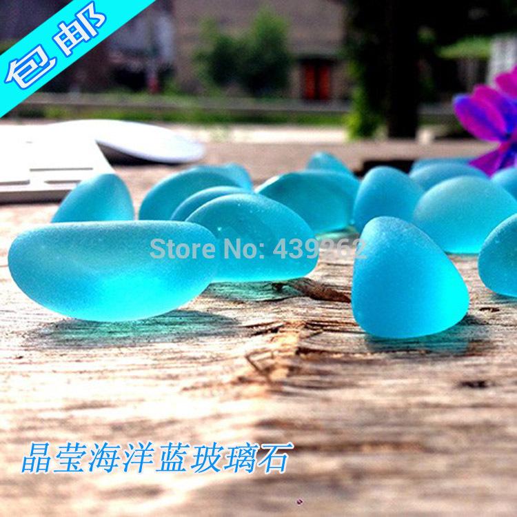 free shipping Crystal stone glass beads blu ray stone fish tank aquarium decoration neon stone(China (Mainland))