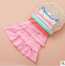 10M to 2T baby girls fashion striped ruffle new 2015 summer cotton dress infant girl patchwork vest casual dress toddler clothes(China (Mainland))