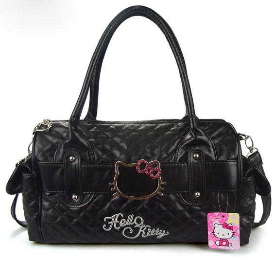 Flash Diamond Hello Kitty Women's Cartoon Black Travel Luggage Bags,Size 38*21*17CM(China (Mainland))