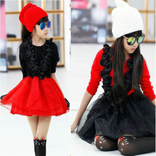 kids girl dresses red black layered long sleeve flower ball gown organza dress girls clothes 8