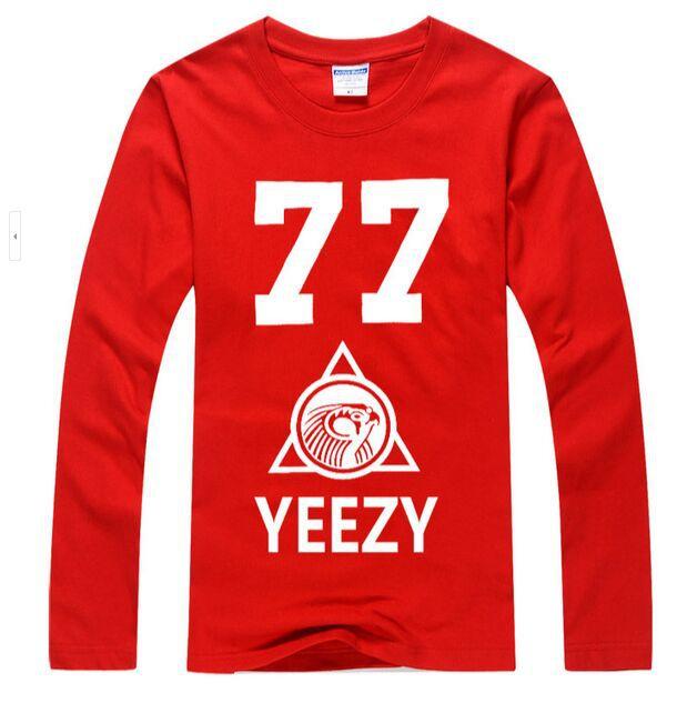 2015 Men's Long Sleeve t-shirts Yeezy 77 Printed Hip Hop Tee Shirts Hood By Air Man Casual Clothing(China (Mainland))