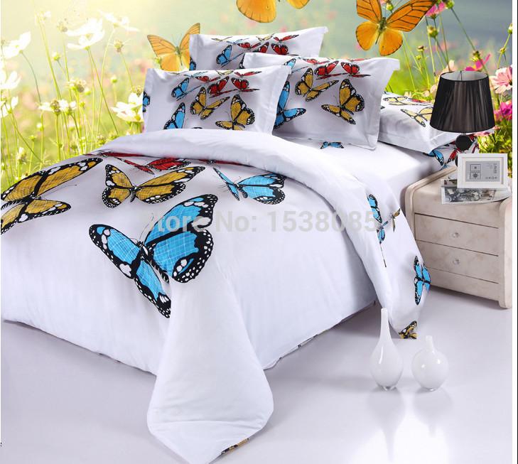 Borboleta e cor branca - 100% roupa de cama de algodão pintura a óleo de luxo jogo do fundamento 3d roupas de cama Queen Size frete grátis EMS(China (Mainland))