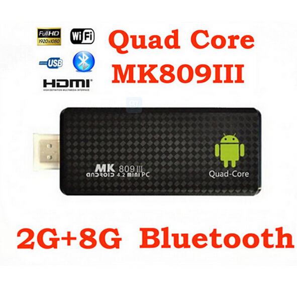 5Pcs/lots Quad core RK3188 mini PC Google TV Box Stick MK809III 2GB RAM 8GB ROM Bluetooth Wifi HDMI MK809 III same with MK802 IV(China (Mainland))