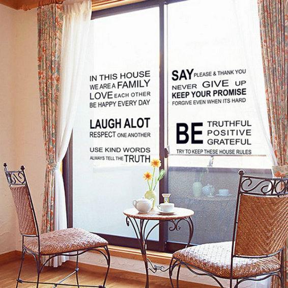English Words Printing Wall Decal Mural Transparent Film Glasses Sticker PVC Art(China (Mainland))