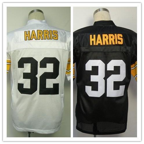 26c99d220 Wholesale 32 Franco Harris White Black Men s Embroidery Logos Throwback  Football Jerseys Size 40