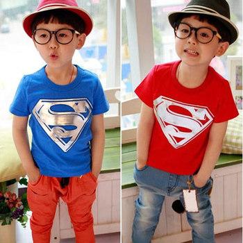 Новый 2015 розничная дети мультфильм с коротким рукавом футболки супермен детей мальчиков одежда топы футболки тис T02