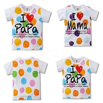 I Love Papa Mama Baby Kids Girl Boy Dot Color Painted Tops T-shirt 27Y(China (Mainland))