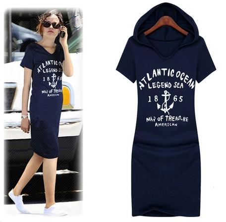 2015 New Brand Women Hooded Cotton Print Bodycon Casual Dresses Loose Plus Size Knee Length Summer Sport Women Dress Vestidos(China (Mainland))