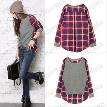 S-XL Casual Cotton Women T-Shirt Pullovers Women Tops Fashion Fall Plaid Printed T-shirts For Women Women Clothing