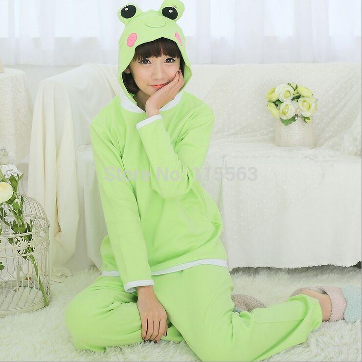 Women Frog Flannel Animal Pajamas One Piece / Unisex Hooded Couples Family Pajama Set Free Shipping(China (Mainland))