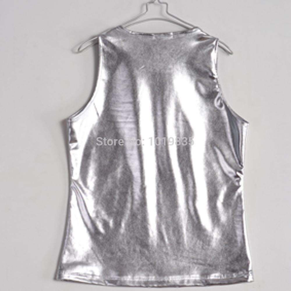 Silver Metallic Top Tank Top Vest Tee Metallic