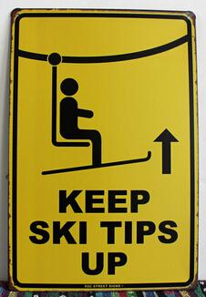 Tin Sign Keep Ski Tips Up Warning Metal Plaque Rink Shop Decor Iron Wall Sticker Art Vintage Poster Rustic Beach Store Bar 2015(China (Mainland))