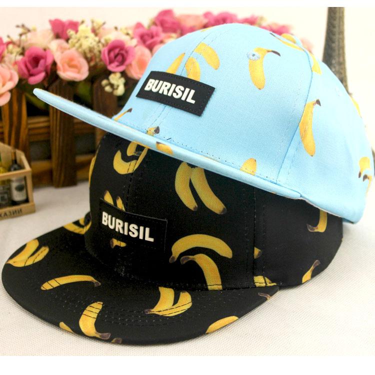 2015 Sale New Casual Letter Unisex Cartoon Fruit Hat And Baby Printing Banana Children Hip Hop Flat Along The Baseball Cap, Sun(China (Mainland))